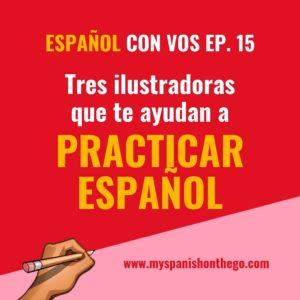 Portada Español con vos. Podcast para estudiantes de nivel intermedio. Practicar español.